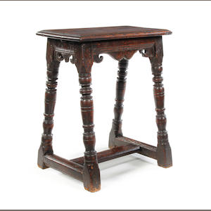 A rare Charles I oak joint stool, circa 1630 With a rare H-shaped stretcher