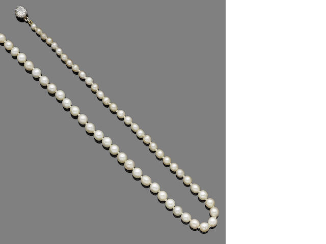 A natural pearl and diamond single-strand necklace