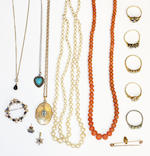 A collection of assorted jewellery, including a Victorian coral bead necklace, to gold barrel clasp, a two row cultured pearl necklace, a micro-mosaic panel brooch, a sapphire and cultured pearl hoop brooch, an Edwardian seed pearl and demantoid garnet bar brooch, a five stone diamond ring, a Georgian silver gilt vinaigrette, etc.