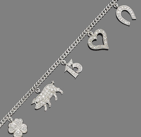 A diamond-set charm bracelet