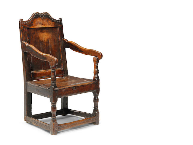 A Charles II oak panel back armchair Possibly Welsh