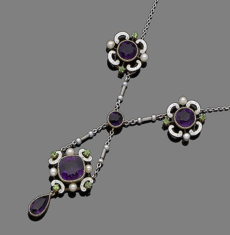 An amethyst, seed pearl, demantoid garnet and enamel pendant necklace,