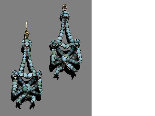 A pair of late 19th century turquoise pendent earrings