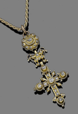 A 19th century diamond cross pendant