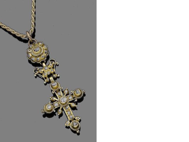 A 19th century diamond cross pendant