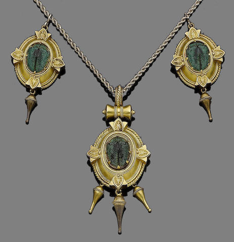 An archaeological revival gold and enamel scarab necklace,