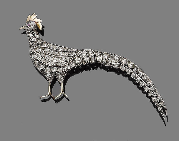 A diamond pheasant brooch,