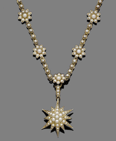 A half-pearl pendant necklace,