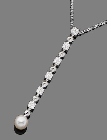 A cultured pearl and diamond pendant necklace, by Bulgari