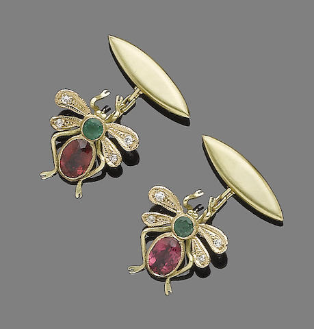 A pair of tourmaline, emerald and diamond cufflinks