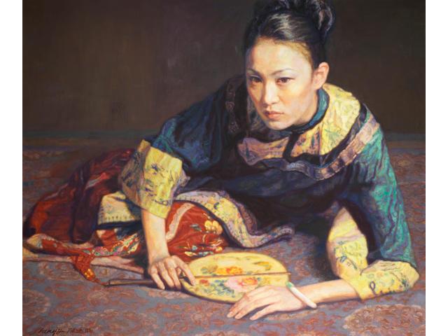 Chen Yifei:Oil, Crouching Lady