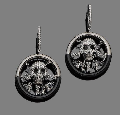 A pair of resin and diamond pendent earrings