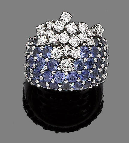 A sapphire and diamond dress ring, by Damiani
