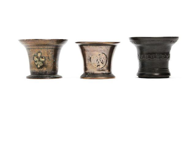 Three 17th century bronze mortars