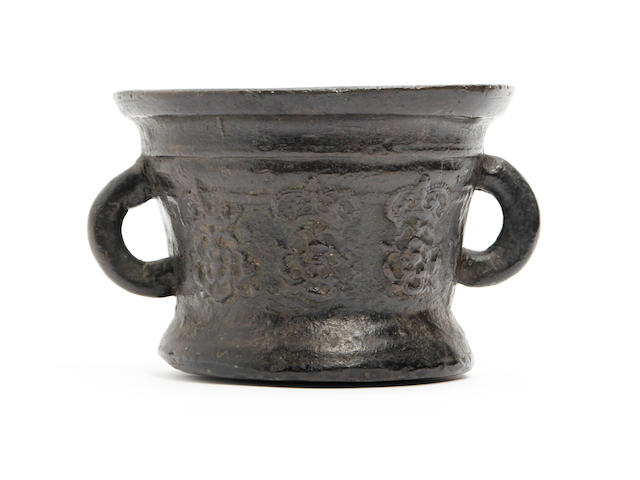 A late 17th century bronze mortar, probably London