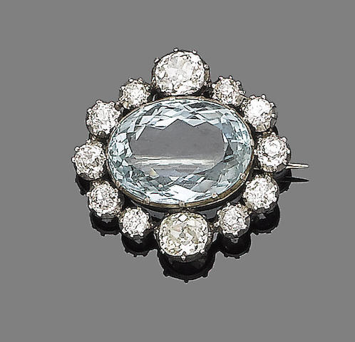 A late 19th century aquamarine and diamond brooch