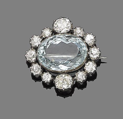 A late 19th century aquamarine and diamond brooch