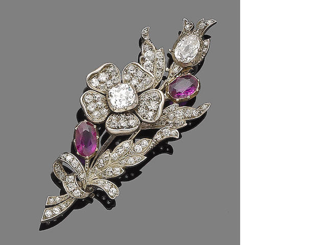 A ruby and diamond spray brooch,