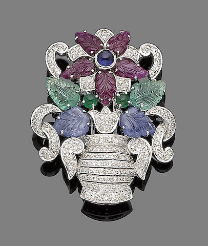 A gem-set giardinetto brooch