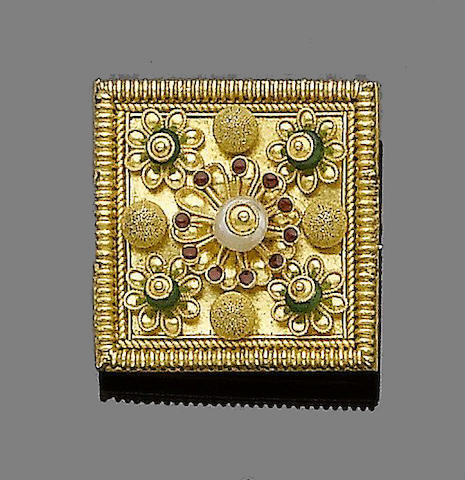 A 19th century gold, seed pearl, enamel and paste brooch