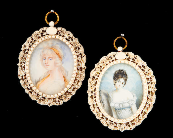 Anglo-Indian School, 19th Century A pair of carved ivory portrait miniature frames with intricately carved foliate borders