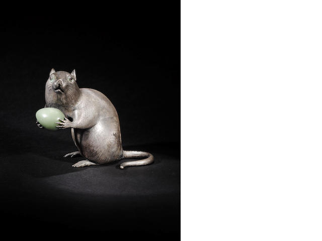 A metalware and hardstone set model of mouse with pseudo Russian marks