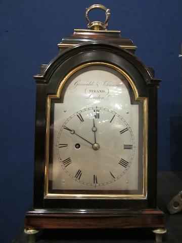A good early 19th century rosewood miniature bracket timepiece  Grimalde and Johnson, Strand, London