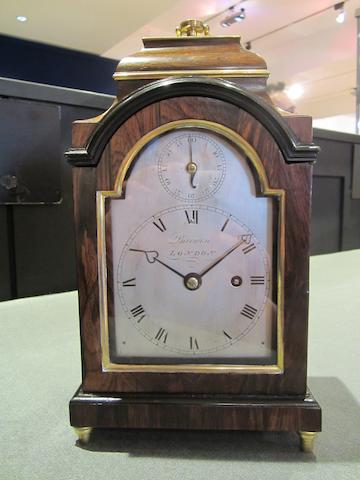 A fine early 19th century rosewood travelling bracket timepiece with rise and fall regulation Barwise, London