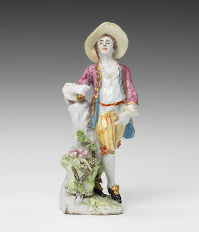 An early Bow pastoral figure of a Vintner by the Muses Modeller, circa 1752-54