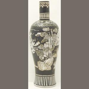 A black and white decorated vase Bearing Qianlonga six character mark in red but 19th century