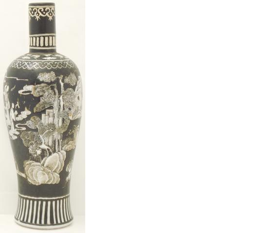 A black and white decorated vase Bearing Qianlong six character mark in red but 19th century