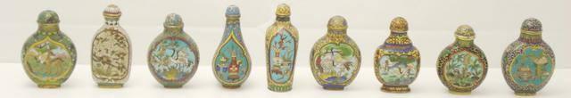 Nine cloisonné snuff bottles decorated with opposing panels 19th/20th century