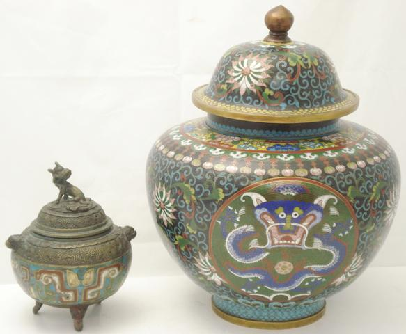 A collection of cloisonné 19th and 20th century