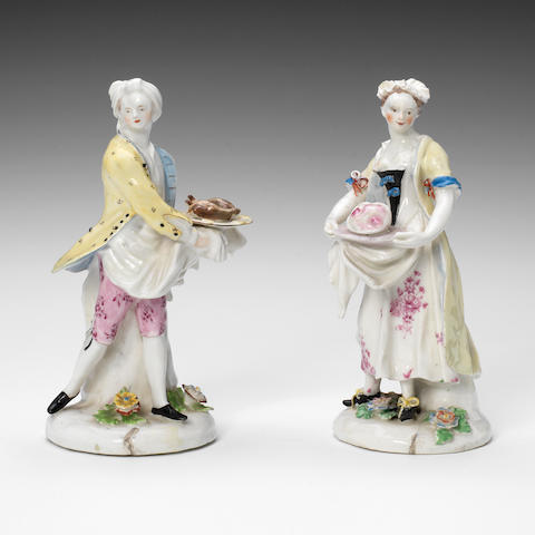 A pair of Bow figures of cooks (her neck restored, a few other minor restorations)