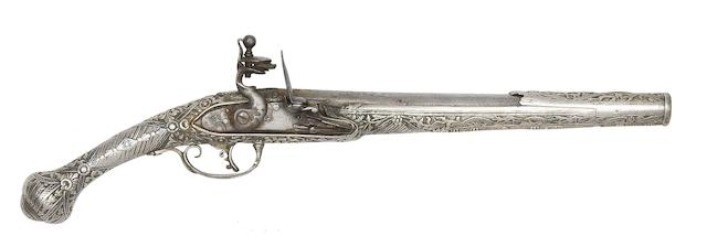 A Balkan 20-Bore Flintlock Pistol With Nielloed Silver Stock
