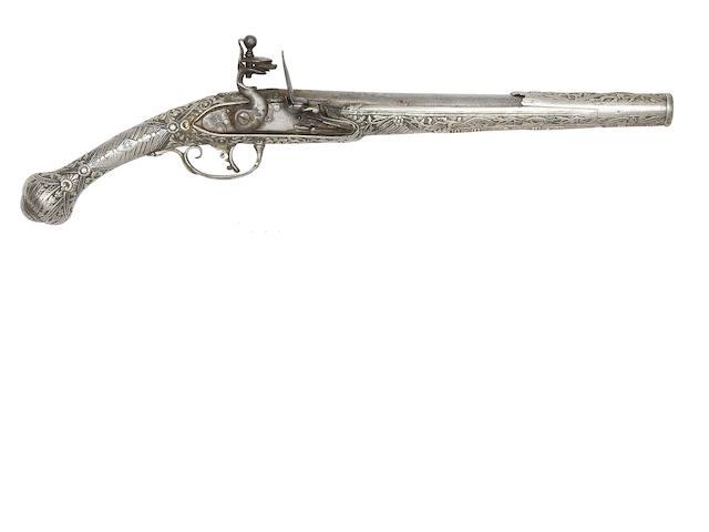 A Balkan 20-Bore Flintlock Pistol With Nielloed Silver Stock