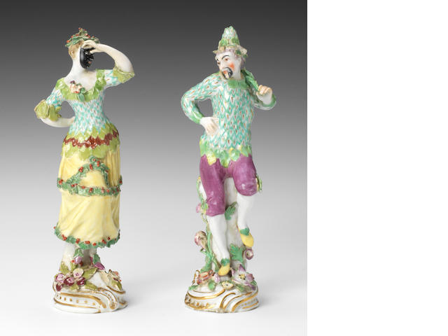 A rare pair of Chelsea figures of Masqueraders