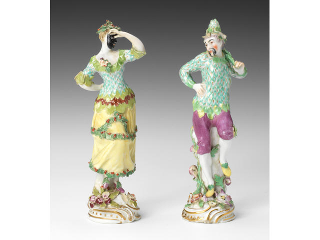 A rare pair of Chelsea figures of Ranelagh Masqueraders, circa 1759-63