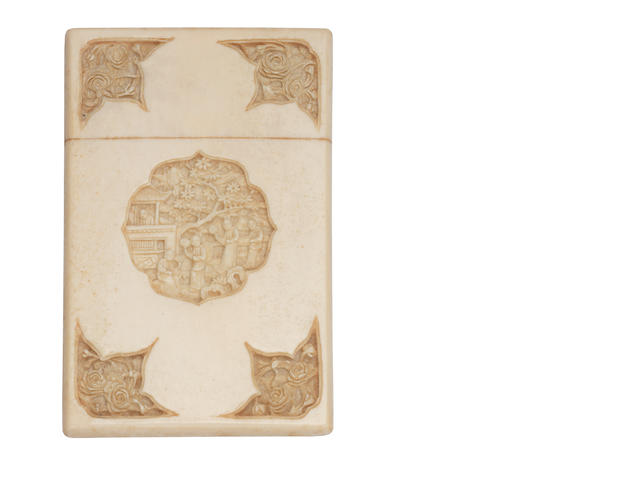 A mid 19th century Chinese carved ivory card case circa 1860