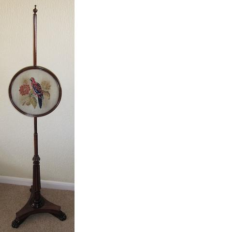 A William IV rosewood framed pole screen