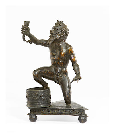 Workshop of Severo da Ravenna, Paduan (active c.1496-c.1543) A bronze inkwell modelled as a kneeling satyr
