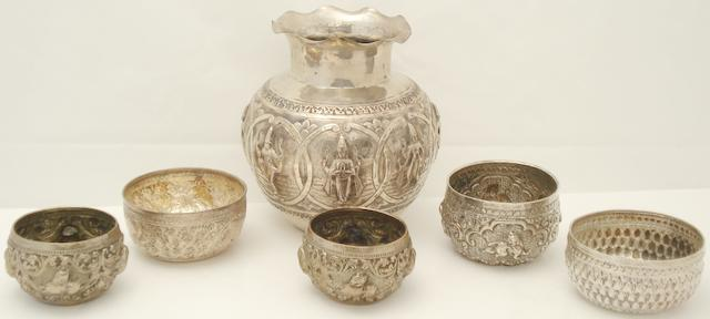 A collection of Burmese white metal