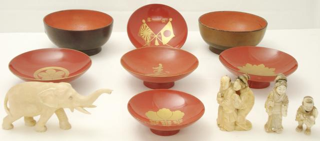 A small collection of ivories and lacquer bowls Circa 1900