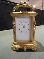 A rare mid 19th century French gilt brass repeating 'Caryatid' carriage clock Lowe a Paris