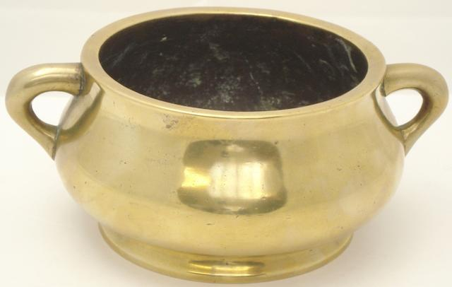 A bronze censer  Bearing Xuande six character mark but probably 18th century