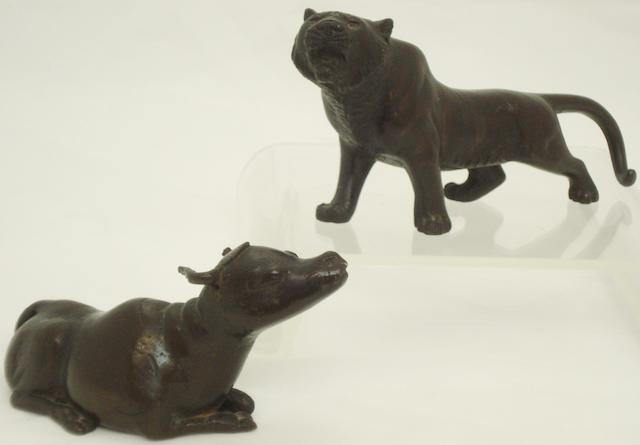A bronze tiger, together with a buffalo Meiji/Taisho