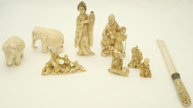 A collection of ivory and bone carvings Japanese and South East Asian, late19th/early 20th century