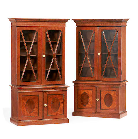 A PAIR OF MINATURE CABINET BOOKCASES
