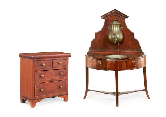 A 19th Century mahogany miniature washstand together with a chest of drawers,