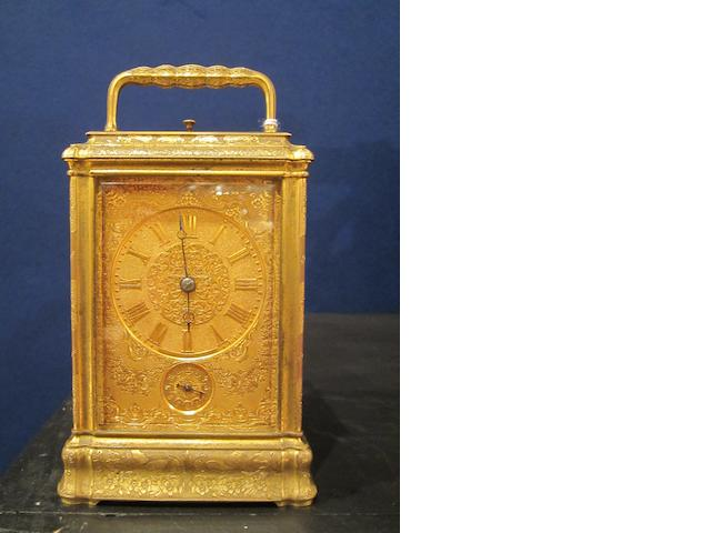 A good 19th century French bell-striking engraved carriage clock with alarm The movement numbered 906